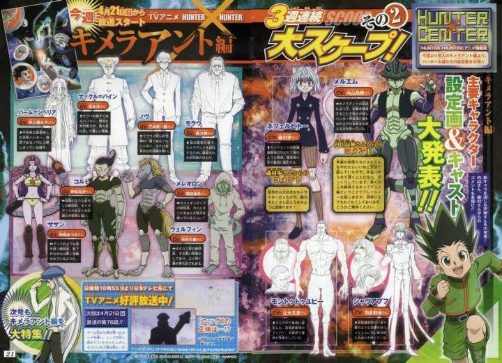 新アニメ版HUNTER×HUNTERのキメラアント編のキャラクターデザインと声優が大決定